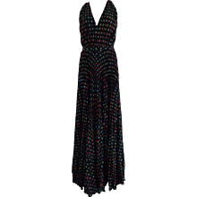Boutique Moschino Black Long Dress Swarovski Print NWOT