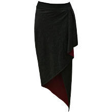 Emanuel Ungaro Parallele Grey Bordeaux Wool Skirt