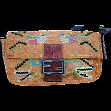 Fendi Multicolour Sequins Baguette Shoulder Bag
