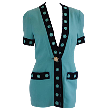 Gai Mattiolo Couture Tiffany Green Blu Beads Jacket