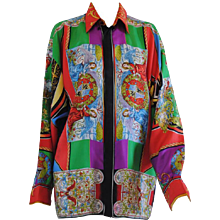 Gianni Versace multicoloured silk print shirt