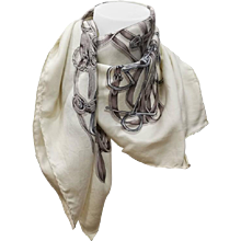 Gucci White Grey Silk Foulard