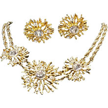 Kenneth Jay Lane Gold Tone Swarovski Parure
