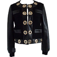 Moschino Boutique Wool bomber with macro eyelets NWOT