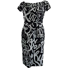 Moschino Couture Black White Graffiti Print Dress NWOT