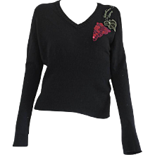 Moschino Jeans Black Grapes Wool Sweater