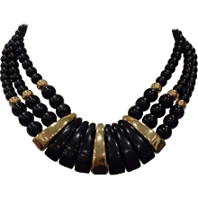 Napier Black Gold Stone Necklace