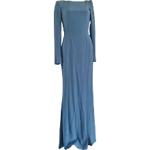 Rare Versace Light Blu Long Open Back Dress
