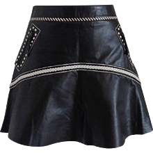 Roberto Cavalli Black Cream Leather Skirt NWOT