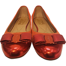 Salvatore Ferragamo Red suede and leather ballerina shoes