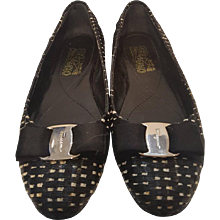 Salvatore Ferragamo black and white raffia ballerinas