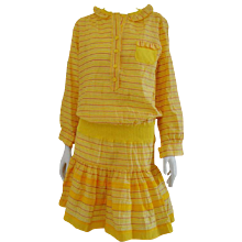 Sonia Rykiel Yellow cotton Dress Yellow multitone stripes