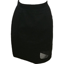 Thierry Mugler Activ Linen Black Skirt with Net