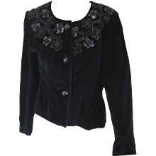 Unknown Black Velvet Flower Sequins Jacket