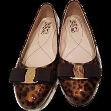 Salvatore Ferragamo Leopard Varnish Leather Ballerin