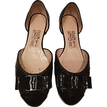 Salvatore Ferragamo Black Varnish leather sandals
