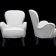 Pair of Italian Mid-Century High Back Chairs