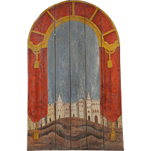 19th Century Wooden Marionette Theatre Backdrop