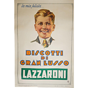 1920s Biscotti Poster for Lazzaroni with Young Man