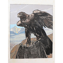Paul Jouve — 'Aigle Royal dans les montagnes', Art Deco watercolor