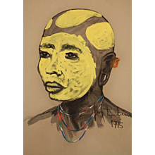 African head with yellow tribal make-up