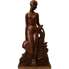 Diane, Art Déco Woodcarving Sculpture by Geneviève Granger, France, circa 1930