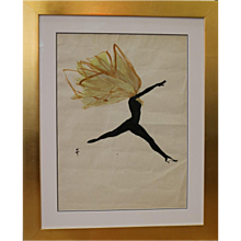 Drawing of a Dancer by René Gruau, France, Circa 1950