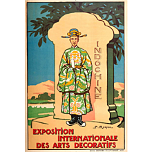 Poster for the International Exhibition of Decorative Arts, Indochina, 1925, by P. Roque