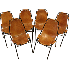 Set of Six Original Charlotte Perriand Les Arcs Chairs, France, 1960's