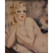 Reclining Female Nude by Micao Kono, Art Deco, France, 1933
