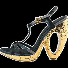 Louis Vuitton Black Satin Sculpture Sandal