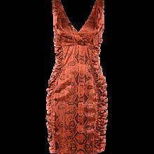 Roberto Cavalli Rust Python Printed Cocktail dress