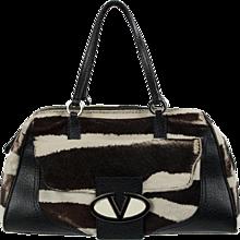 Valentino Garavani Cream and Brown Calfskin Bag