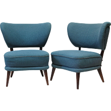 Pair of Mid-Century Modern Wingback Slipper Chairs