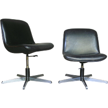 Pair of Leather Swivel Desk Chairs - France, Circa 1960s