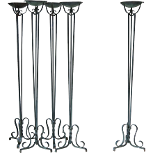 Set of 5 Art Deco Wrought Iron Torchères - France, 1940s