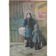 Large Painting of a Street Scene Featuring Two Young Girls - France, Late 19th Century