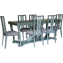 Italian 1940s Dining Table and Six Chairs with Criss-Cross Motif