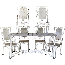 Baroque Wrought Iron Table and Six Chairs - France, 1940s