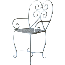 Set of 8 Wrought Iron Garden Chairs - France, 1950s