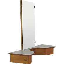 Fifties wall mount dressing table with mirror and storage