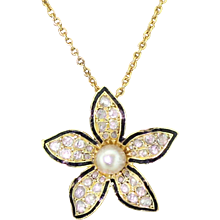 Victorian Natural Pearl, Rose Cut Diamond & Black Enamel Flower Pendant, circa 1890