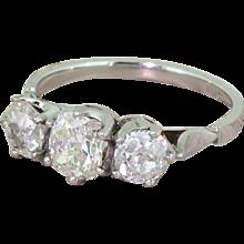Art Deco 1.64 Carat Old Cut Diamond Trilogy Ring, circa 1945