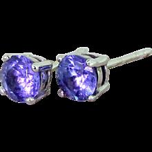 1.20 Carat Tanzanite Stud Earrings, 18k White Gold