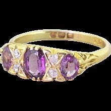 Victorian 1.00 Carat Amethyst Trilogy Ring, circa 1900