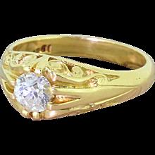 "Victorian 0.60 Carat Old Cut Diamond Ornate ""Gypsy"" Ring, circa 1900"