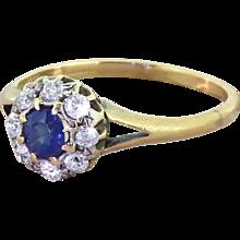 Victorian 0.30 Carat Sapphire & Old Cut Diamond Cluster Ring, circa 1900