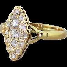 Victorian 0.41 Carat Old Cut & Rose Cut Diamond Navette Ring, circa 1900