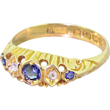 Edwardian Sapphire & Rose Cut Diamond Five Stone Ring, dated 1907
