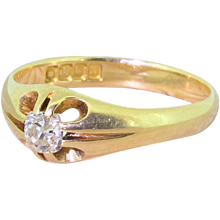 Early 20th Century 0.35 Carat Old Cut Diamond Gypsy Style Ring, dated 1917